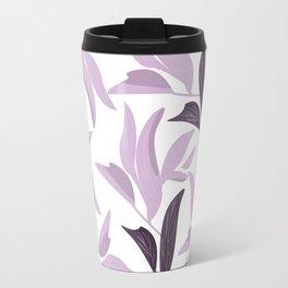 Abstract modern pastel lavender white leaves floral Travel Mug