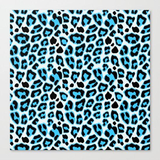 Blue & Black Leopard Print Pattern Canvas Print