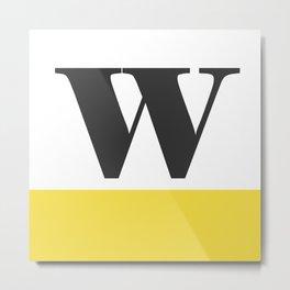 Monogram Letter W-Pantone-Buttercup Metal Print