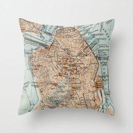 Vintage Map of Boston MA (1906) 2 Throw Pillow