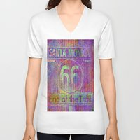 santa monica V-neck T-shirts featuring Santa Monica, end of the trail  by Joe Ganech