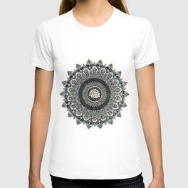 Black and White Flower Mandala with Blue Jewels T-shirt