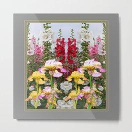 YELLOW  & GREY IRIS HOLLYHOCK FLOWER GARDEN DESIGN Metal Print