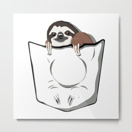 Sloth Pocket Metal Print