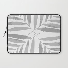 Geometric silver glitter on white autumn fall tropic pattern palm leaves , Christmas , society6 Laptop Sleeve