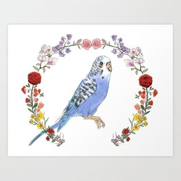 Parakeet in Purple Art Print