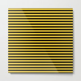 Small Black and Yellow Honey Bee Stripes Metal Print