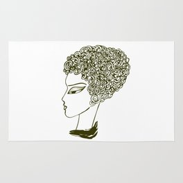 Female Face With Curly Hair and Dark Eyes Rug
