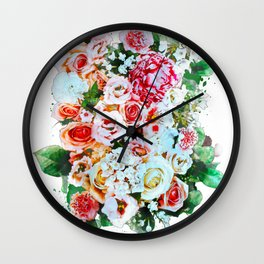 Rose Flower Bouquet Watercolor Wall Clock