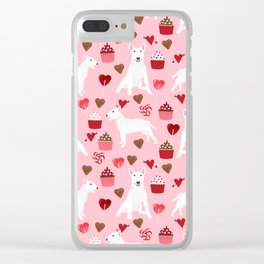 Bull Terrier white valentines day cupcakes hearts dog breed pet friendly dog gifts bull terriers Clear iPhone Case
