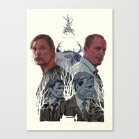 true detective Canvas Prints featuring True Detective by TidyDesigns