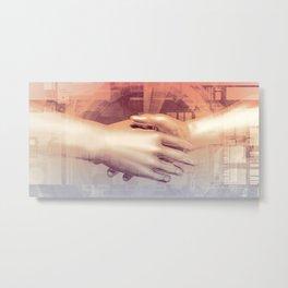 Digital Partnership with Handshake Between Man and Machine Metal Print