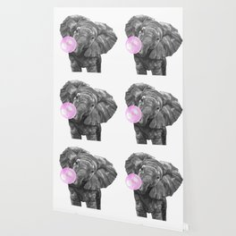 Bubble Gum Elephant Black and White Wallpaper