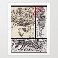 Japanese Phoenix & Karasu Tengu Art Print