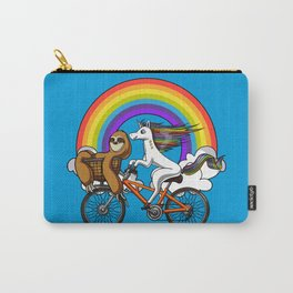 Magical Unicorn Sloth Riding Bicycle Rainbow Carry-All Pouch