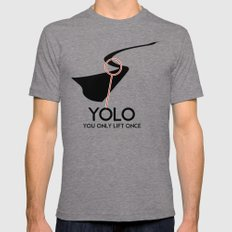 YOLO - You Only Lift Once Mens Fitted Tee LARGE Tri-Grey