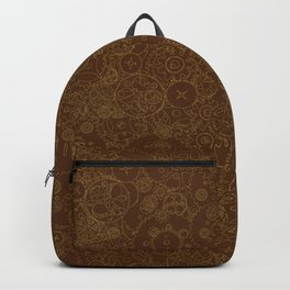 Clockwork Retro / Cogs and clockwork parts lineart pattern in brown and gold Backpack