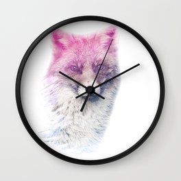 FOX SUPERIMPOSED WATERCOLOR Wall Clock