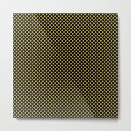 Black and Golden Olive Polka Dots Metal Print
