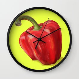 Red Paprika on Yellow Wall Clock