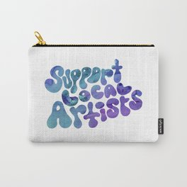 Support Local Artists Blue and Purple Watercolor Lettering Carry-All Pouch