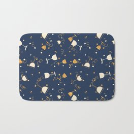 Chic navy blue faux gold glitter party time Bath Mat