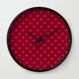 Crimson Red on Burgundy Red Stars Wall Clock