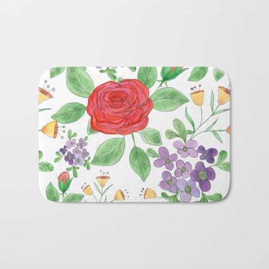 Watercolor floral pattern .8 Bath Mat