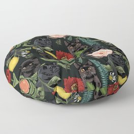 Botanical and Black Cats Floor Pillow