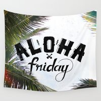 friday Wall Tapestries featuring Aloha Friday! by Ocean Ave // Lettering and Design