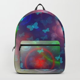 many colorful small butterflies on a colorful background Backpack