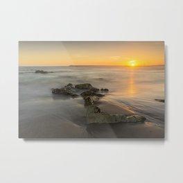 Orange sunset by the beach Metal Print