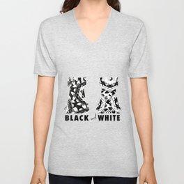 Contrast black and white Unisex V-Neck
