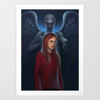 amy pond Art Prints featuring Dr Who- Amy Pond by ElaineTeh