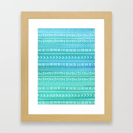 Aqua Boho Stripes Framed Art Print