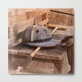 Old style polo equipment after the game Metal Print