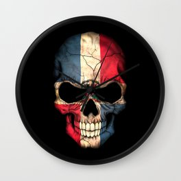 Dark Skull with Flag of Dominican Republic Wall Clock