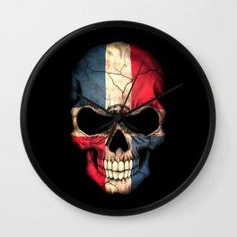 Dark Skull with Flag of Dominican Republic Wall Clock