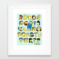 simpsons Framed Art Prints featuring Simpsons Alphabet by Mike Boon