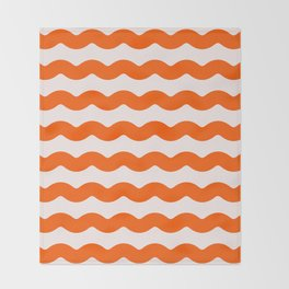 Winter 2018 Color: Unapologetic Orange on Pink Waves Throw Blanket