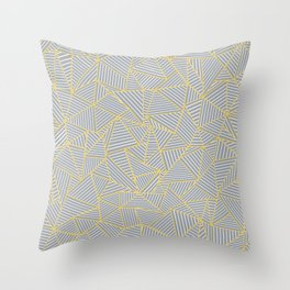 Ab Outline Gold and Grey Throw Pillow