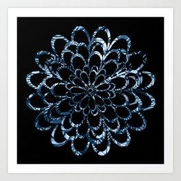 Ice Blue Floral Design Art Print