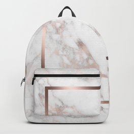 Luxury Rose-gold Faux Marble Backpack