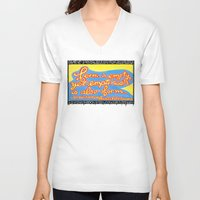 buddhism V-neck T-shirts featuring Buddhism words of Bodhisattva Avaloketeshvara painted and lettered by Sasso by ART to GO Sasso