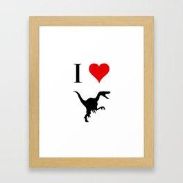 I Love Dinosaurs - Velociraptor Framed Art Print