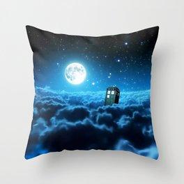 Tardis Cloud And Moon Throw Pillow