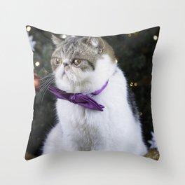 Xmas kitty Throw Pillow