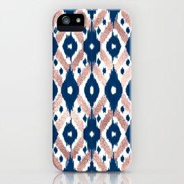 Artsy Modern Rose Gold Navy Blue Ikat Geo iPhone Case