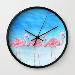 Flamingo Bird Summer Lagune - Watercolor Illustration Wall Clock