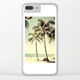 Retro Vintage Palm Tree with Hawaii Summer Sea Beach Clear iPhone Case